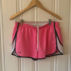 Under Armour pink white and gray running shorts